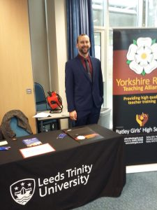 Mr Jenkinson, a past School Direct History trainee, attended a recruitment event at Leeds Trinity University.